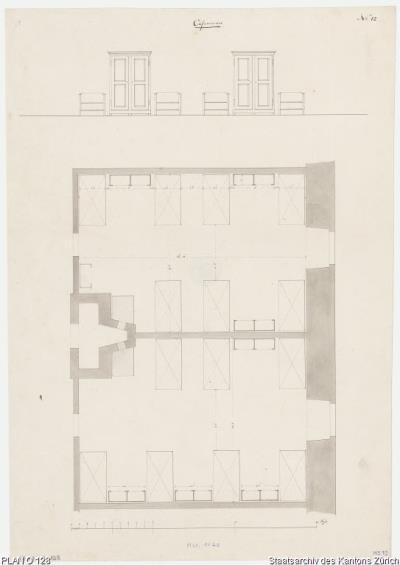 Plan O 128 Zürich Alte Kaserne Soldatenzimmer Grundriss Und